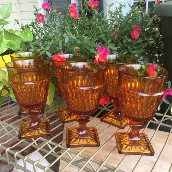 Vintage 6 Amber Glass Goblets Wedding Garden Party